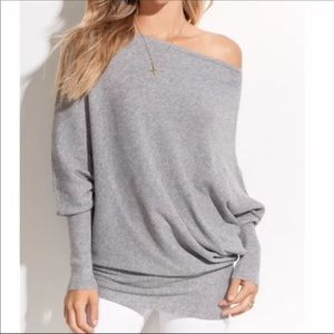 Heather Gray Off the Shoulder Slouchy Sweater Top